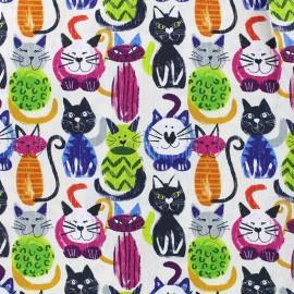 Tissu popeline Drôles de chats x 11cm