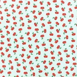 Poppy cotton fabric Cherry blossom - seagreen x 10cm