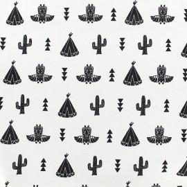 Poppy cotton fabric Saponi - white x 14cm