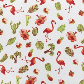 Poppy cotton fabric Tropical taste - white x 16cm