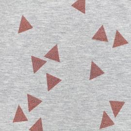 Poppy jersey fabric Triangle Glitter - coral x 10cm