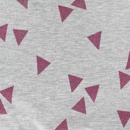 Poppy jersey fabric Triangle Glitter - fuchsia x 10cm
