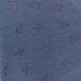 Poppy jersey fabric Stars Glitter - bleu x 10cm