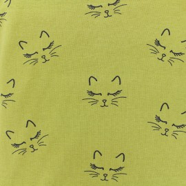 Poppy jersey fabric Sweet Cat - english mustard x 10cm