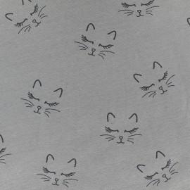 Poppy jersey fabric Sweet Cat - grey x 10cm
