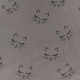 Poppy jersey fabric Sweet Cat - taupe x 10cm