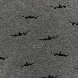 Poppy jersey fabric Planes - grey x 19cm
