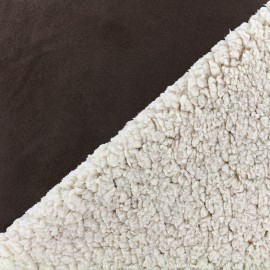 Fur fabric double face sheep and Suede Soft - brown x 10cm
