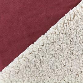 Fur fabric double face sheep and Suede Soft - lie de vin x 10cm