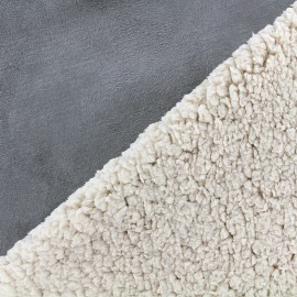 Fur fabric double face sheep and Suede Soft - grey blue x 10cm