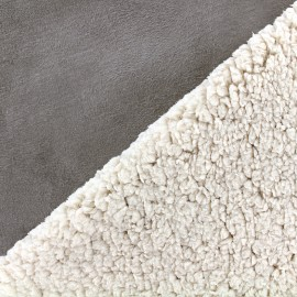 Fur fabric double face sheep and Suede Soft - taupe x 10cm