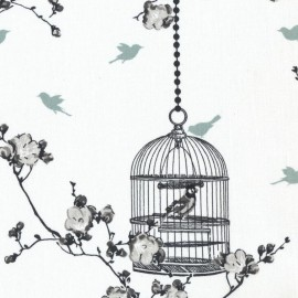 Coated cotton fabric Birdcage - charcoal/ice green x 10cm