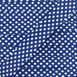 Cotton bias binding, with white polka dots - blue navy x 1m