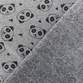 Tissu sweat envers minkee Panda - gris chiné x 10cm