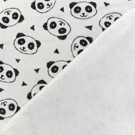 Sweat with minkee reverse side Fabric Panda - ecru x 10cm