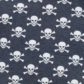 Tissu jersey Poppy Skull-Tastic - marine chiné x 10cm
