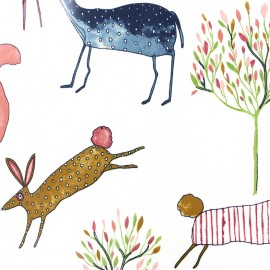 Varnished and coated cotton fabric Oh my deer - berry x 32cm
