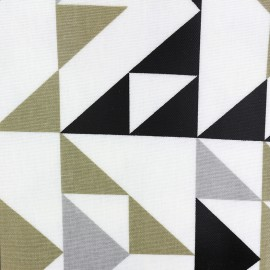 Varnished and coated cotton fabric Point to point - graphite x 10cm