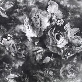 Simili cuir souple Flowers - gris x 10cm