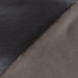 Supple faux leather on velvet - brown x 10cm