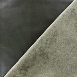 Supple faux leather on velvet - khaki x 10cm