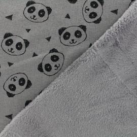 Sweat with minkee reverse side Fabric Panda - taupe x 10cm