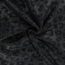 Iridescent Stitch Fabric - black x 10cm