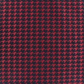 Tissu jacquard Pied de poule - rouge x 10cm