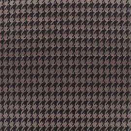 Tissu jacquard Pied de poule - marron x 10cm