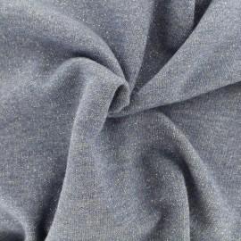 Tissu jogging lurex - bleu x 10cm