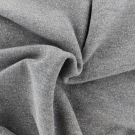 Tissu jogging lurex - gris x 10cm