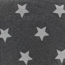 Sweat fabric Glittery Stars - anthracite x 10cm