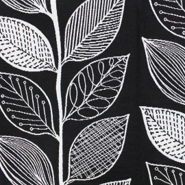 Tissu toile jacquard Leaf - noir et blanc x 10cm