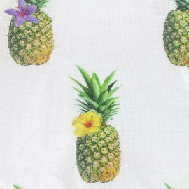 Tissu voile de lin (300cm) - Ananas  x 34cm