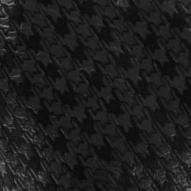 Tissu jacquard brodé aspect matelassé Pied de poule - noir x 10cm
