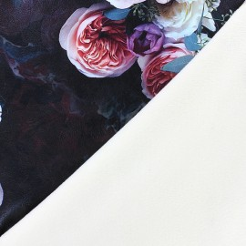 Imitation leather Souple/short velvet fabric Blossom - black x 10cm