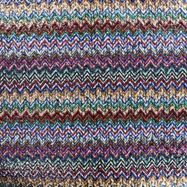 Polished wool fabric Chevron - multi x 10cm