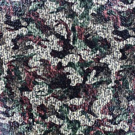 Tissu Lainage ciré Camouflage - vert x 10cm