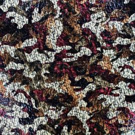 Tissu Lainage ciré Camouflage - rouge x 10cm