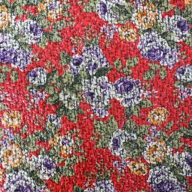 Tissu Lainage ciré Flower - rouge x 10cm
