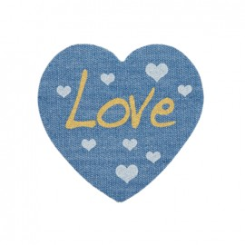 Jeans heart iron-on applique - Love