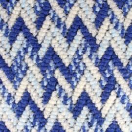 Tissu Maille tricot Chevron - bleu x 10cm