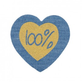 Jeans heart iron-on applique - 100%