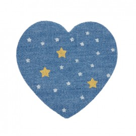 Jeans heart iron-on applique - Starry night