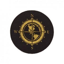 Black Jeans iron-on applique - gold compass