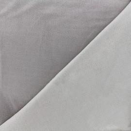 Bicolored suede elastane fabric - grey x 10cm