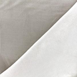 Bicolored suede elastane fabric - havane x 10cm