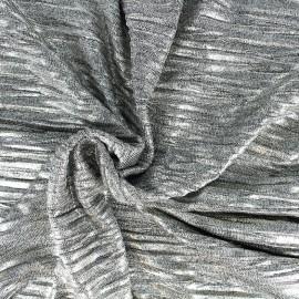 Tissu Maille plissée métallisée - argent x 10cm