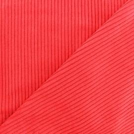 Tissu velours grosses côtes - rouge vif x10cm