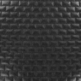 Tissu doublure matelassé simili cuir Brique - noir x 10cm